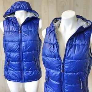 Puffer hooded vest blue insulated medium